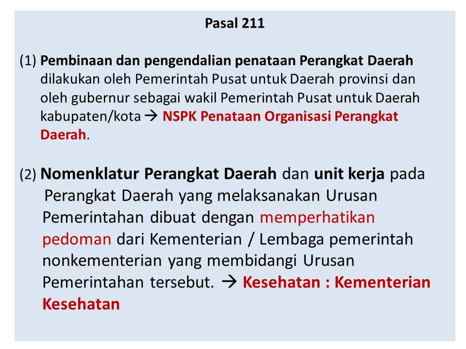 Pasal 211 (1) Pembinaan dan pengendalian penataan Perangkat Daerah. dilakukan oleh Pemerintah Pusat untuk Daerah provinsi dan.