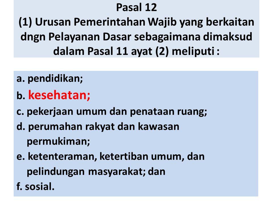 Pasal 12 (1) Urusan Pemerintahan Wajib yang berkaitan dngn Pelayanan Dasar sebagaimana dimaksud dalam Pasal 11 ayat (2) meliputi :