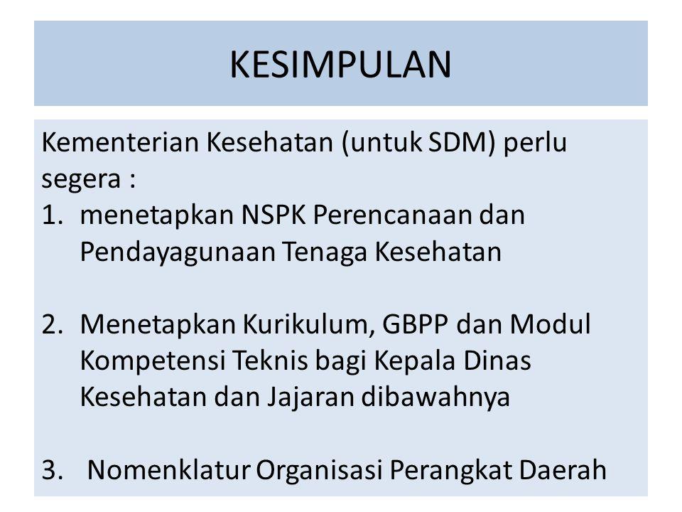 KESIMPULAN Kementerian Kesehatan (untuk SDM) perlu segera :