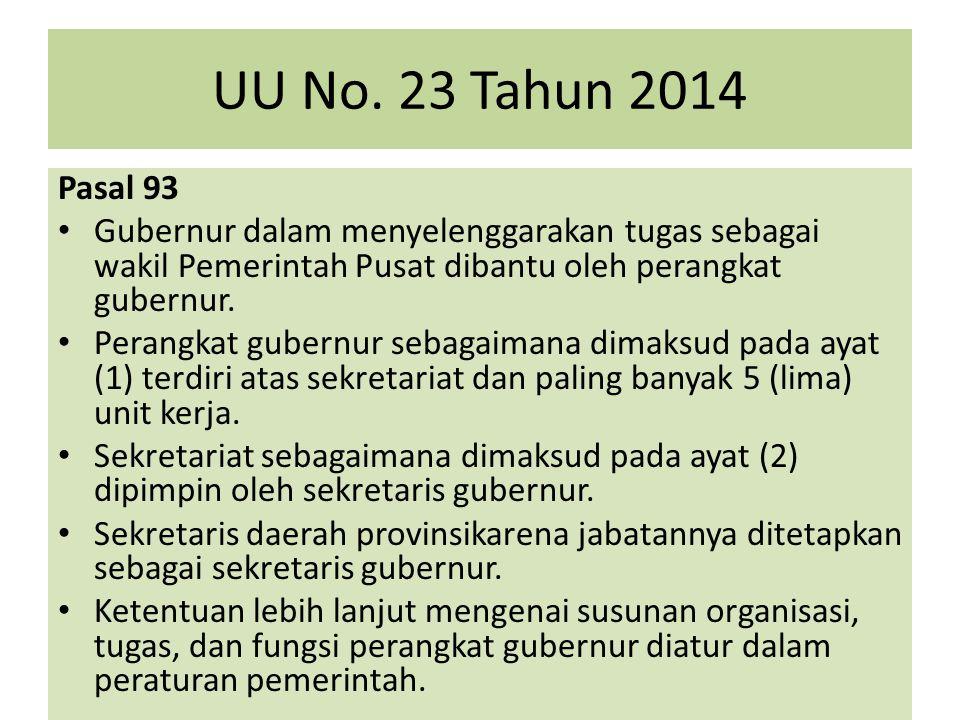 UU No. 23 Tahun 2014 Pasal 93. Gubernur dalam menyelenggarakan tugas sebagai wakil Pemerintah Pusat dibantu oleh perangkat gubernur.