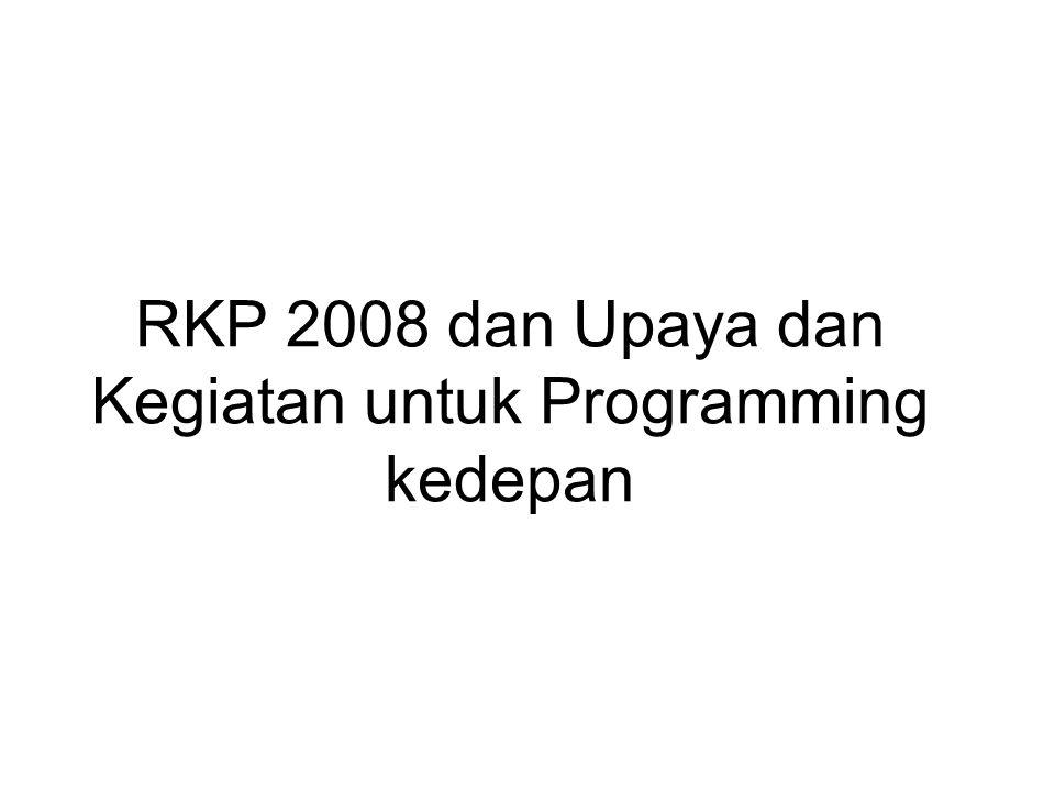 RKP 2008 dan Upaya dan Kegiatan untuk Programming kedepan