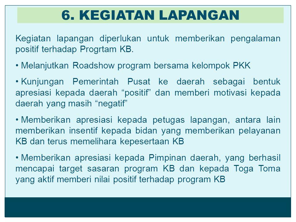 6. KEGIATAN LAPANGAN Kegiatan lapangan diperlukan untuk memberikan pengalaman positif terhadap Progrtam KB.