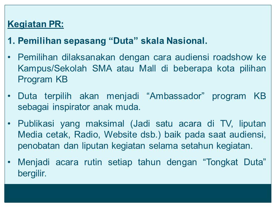 Kegiatan PR: Pemilihan sepasang Duta skala Nasional.