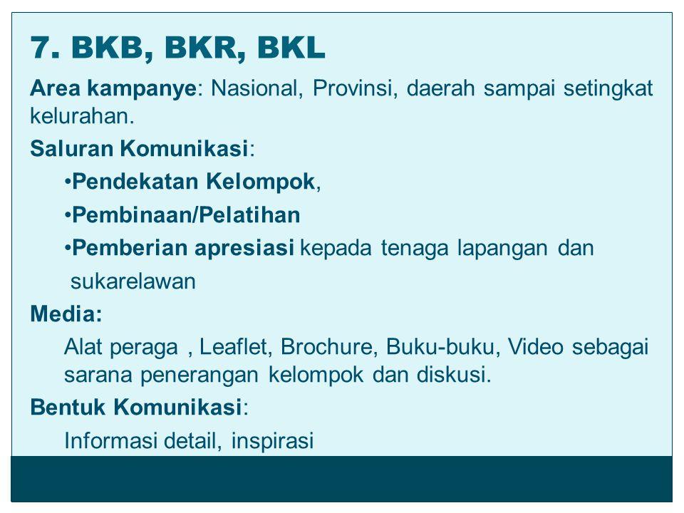 7. BKB, BKR, BKL Area kampanye: Nasional, Provinsi, daerah sampai setingkat kelurahan. Saluran Komunikasi: