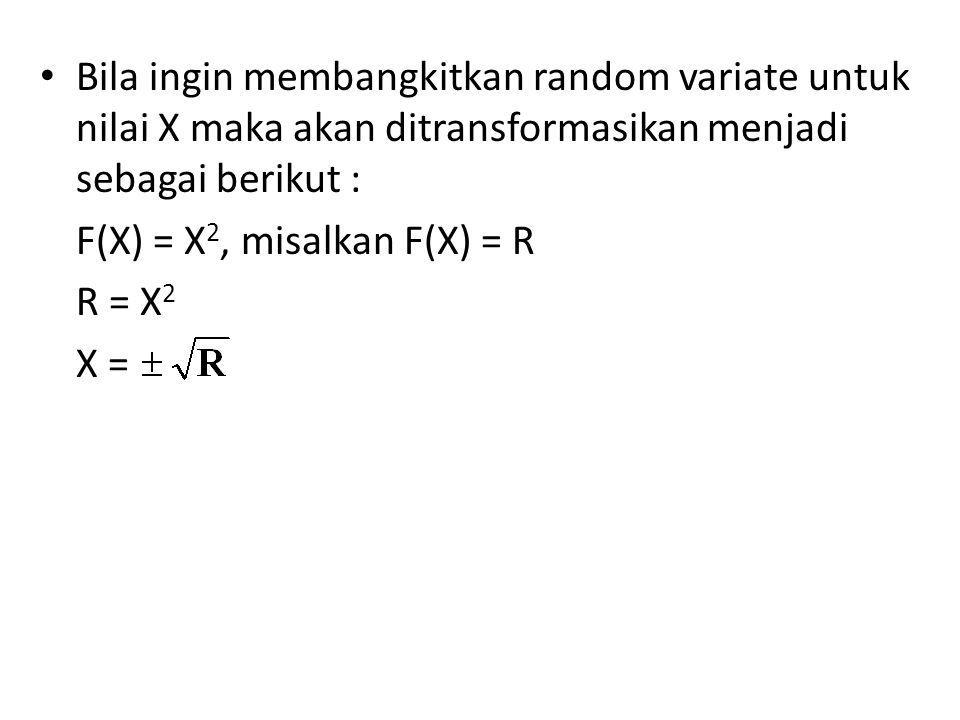 Bila ingin membangkitkan random variate untuk nilai X maka akan ditransformasikan menjadi sebagai berikut :