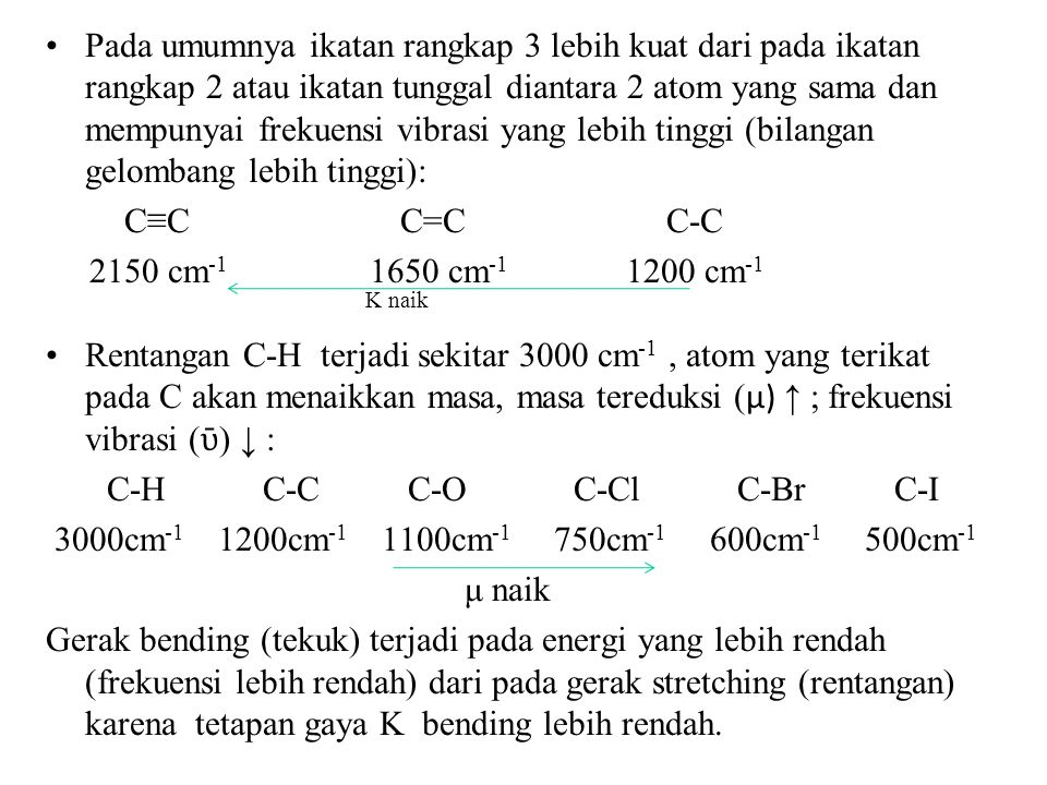 Pada umumnya ikatan rangkap 3 lebih kuat dari pada ikatan rangkap 2 atau ikatan tunggal diantara 2 atom yang sama dan mempunyai frekuensi vibrasi yang lebih tinggi (bilangan gelombang lebih tinggi):