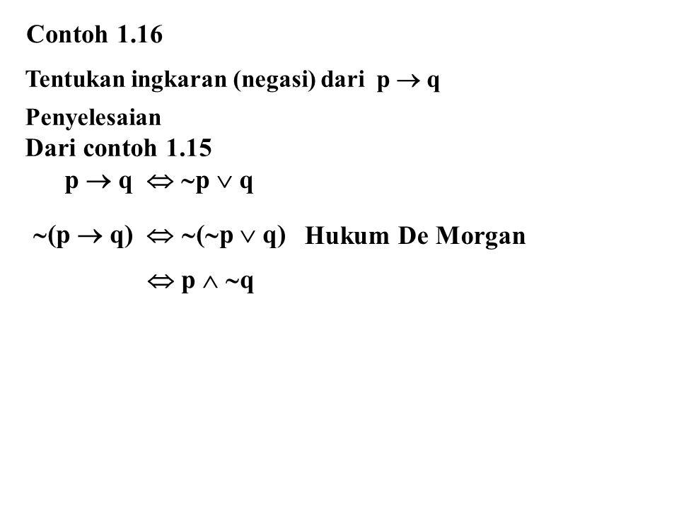 Contoh 1.16 Dari contoh 1.15 p  q  p  q (p  q)  (p  q)
