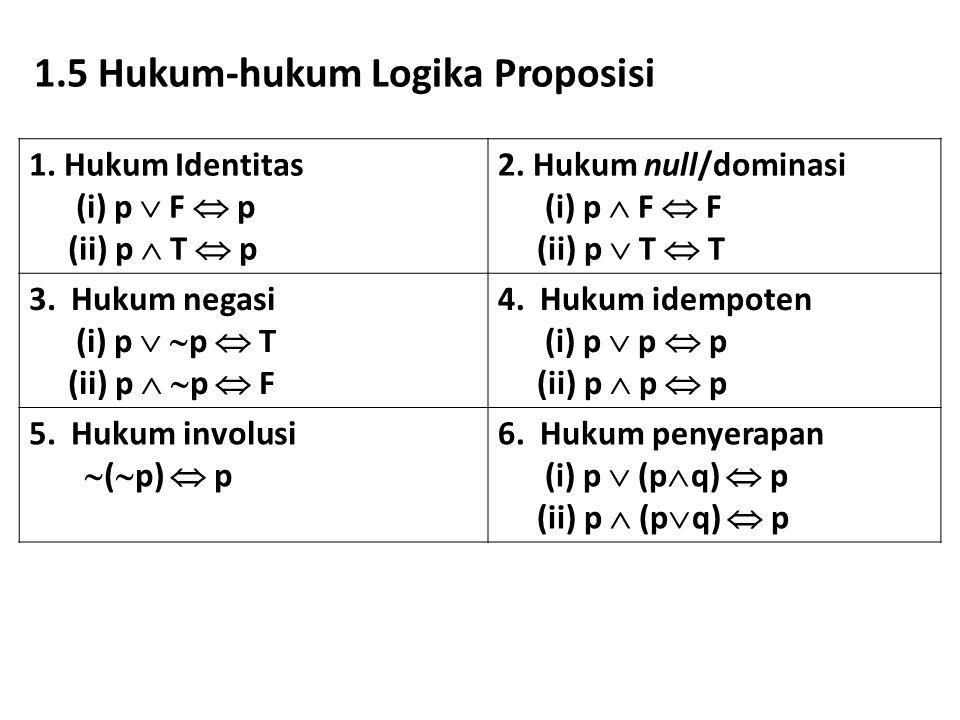1.5 Hukum-hukum Logika Proposisi