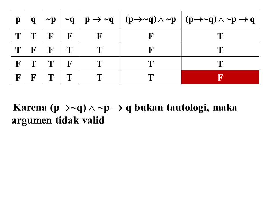 Karena (pq)  p  q bukan tautologi, maka