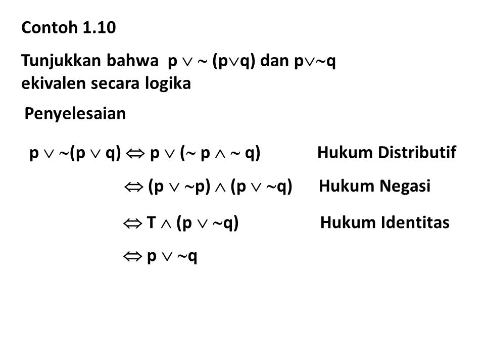 Contoh 1.10 Tunjukkan bahwa p   (pq) dan pq. ekivalen secara logika. Penyelesaian.