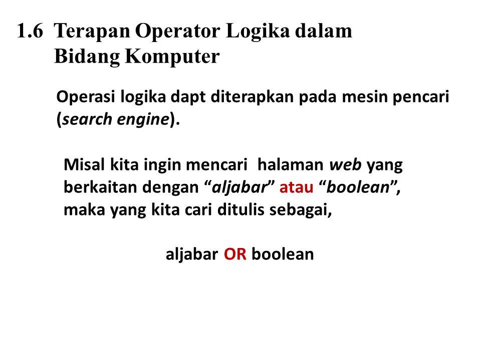 1.6 Terapan Operator Logika dalam Bidang Komputer