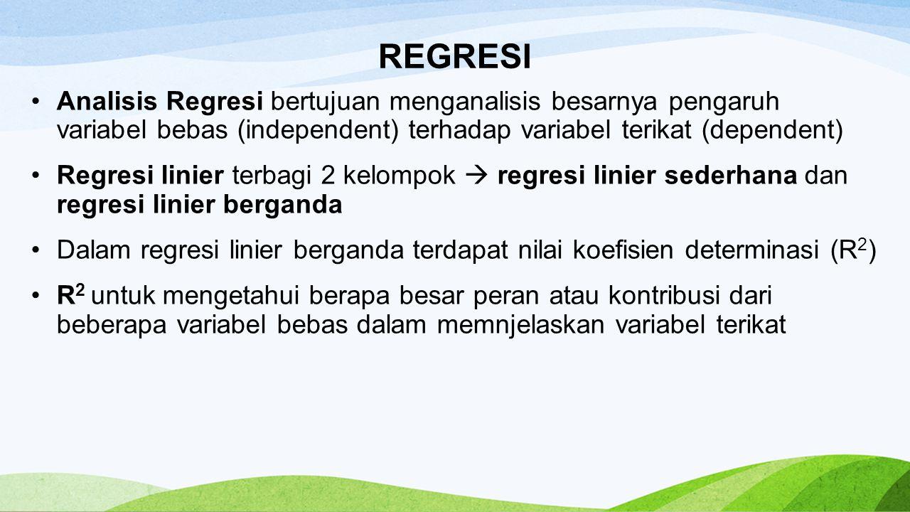 REGRESI Analisis Regresi bertujuan menganalisis besarnya pengaruh variabel bebas (independent) terhadap variabel terikat (dependent)