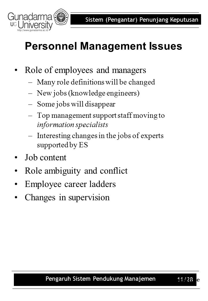 Personnel Management Issues