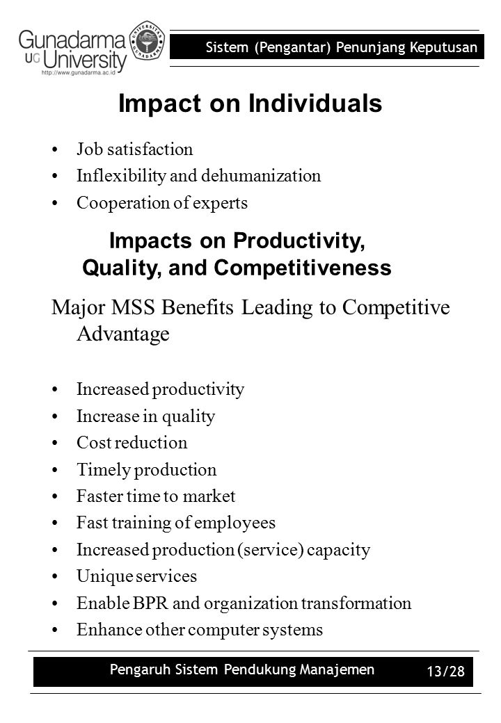 Impacts on Productivity, Quality, and Competitiveness