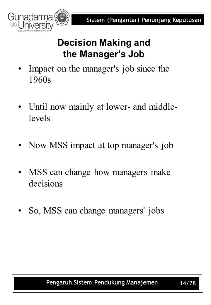 Decision Making and the Manager s Job