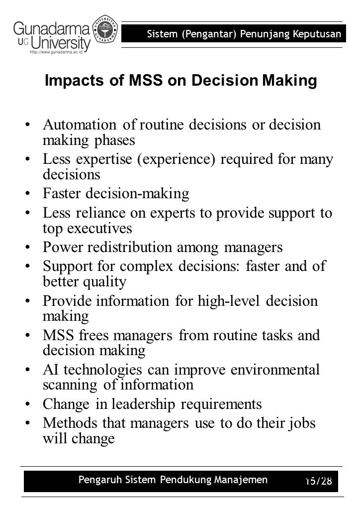 Impacts of MSS on Decision Making
