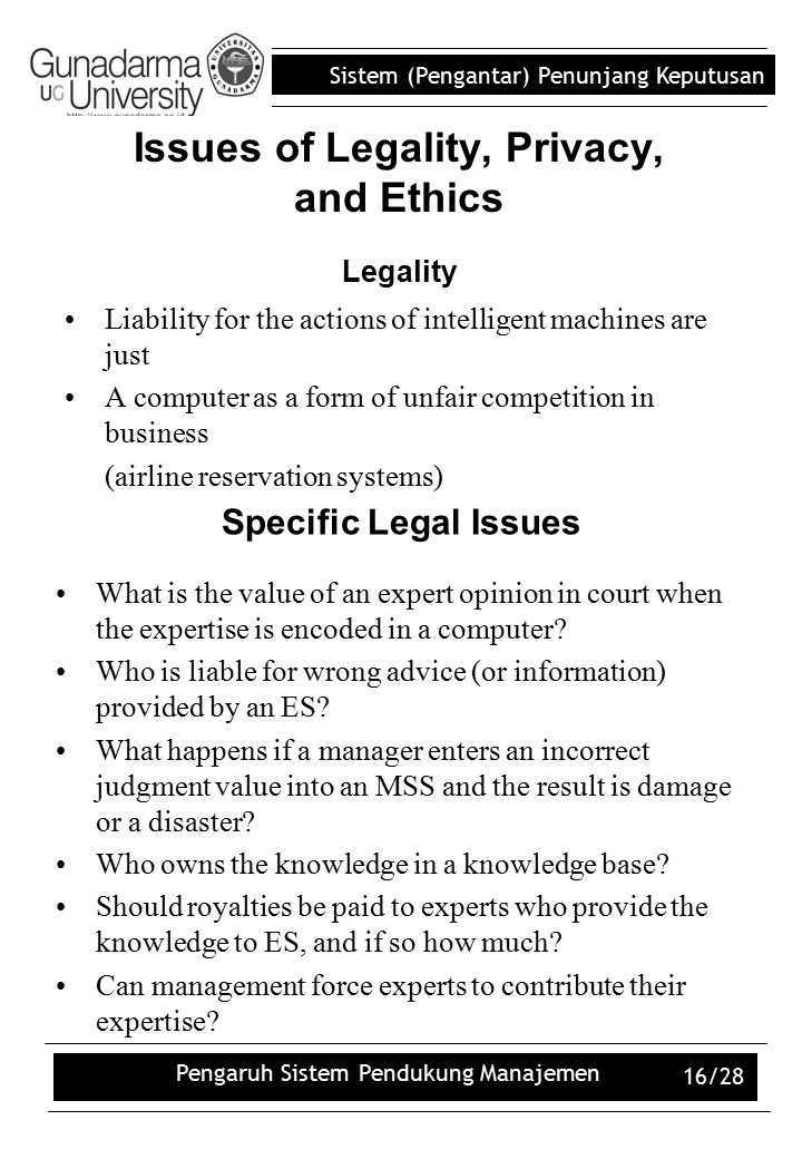 Issues of Legality, Privacy, and Ethics Legality