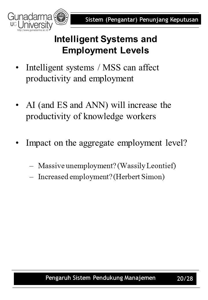 Intelligent Systems and Employment Levels