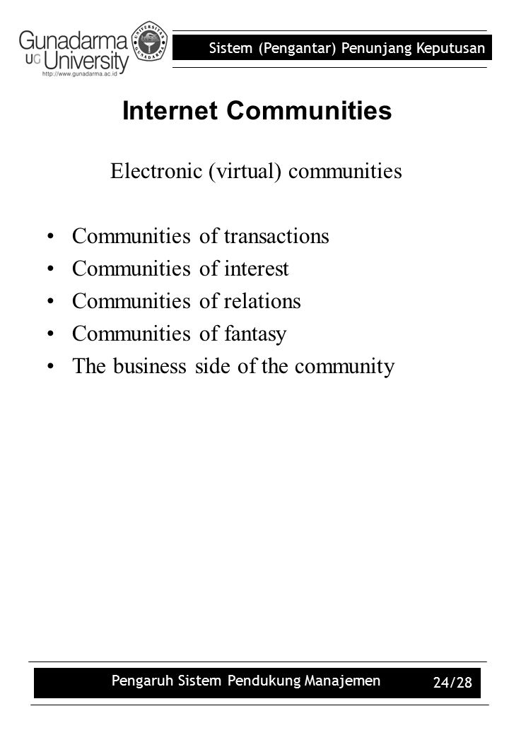 Internet Communities Electronic (virtual) communities