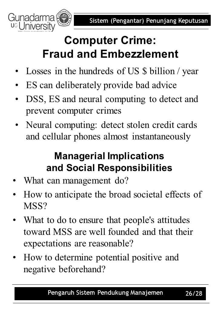 Computer Crime: Fraud and Embezzlement