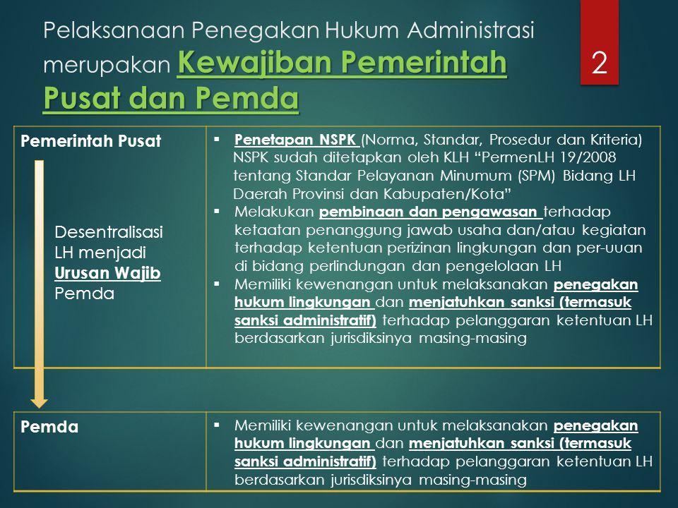 Pelaksanaan Penegakan Hukum Administrasi merupakan Kewajiban Pemerintah Pusat dan Pemda