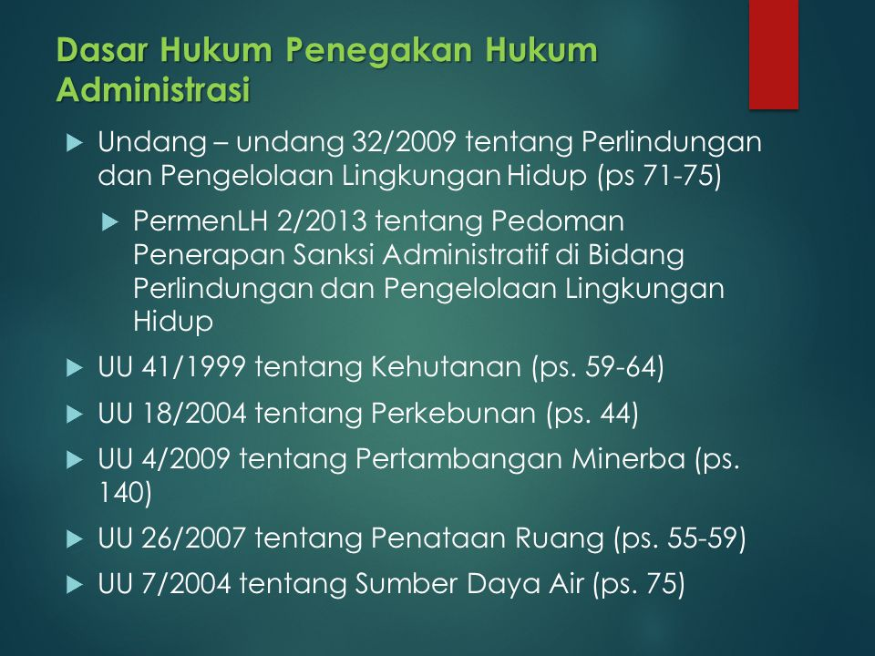 Dasar Hukum Penegakan Hukum Administrasi