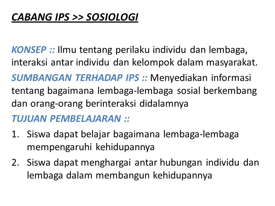 CABANG IPS >> SOSIOLOGI