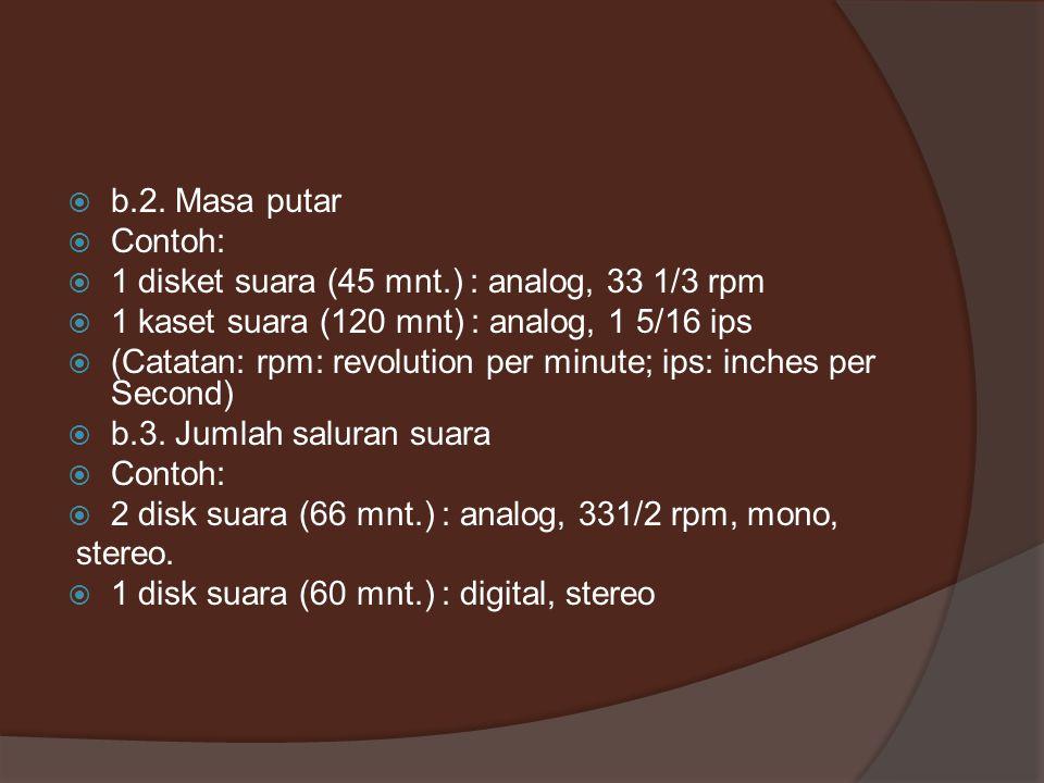 b.2. Masa putar Contoh: 1 disket suara (45 mnt.) : analog, 33 1/3 rpm. 1 kaset suara (120 mnt) : analog, 1 5/16 ips.