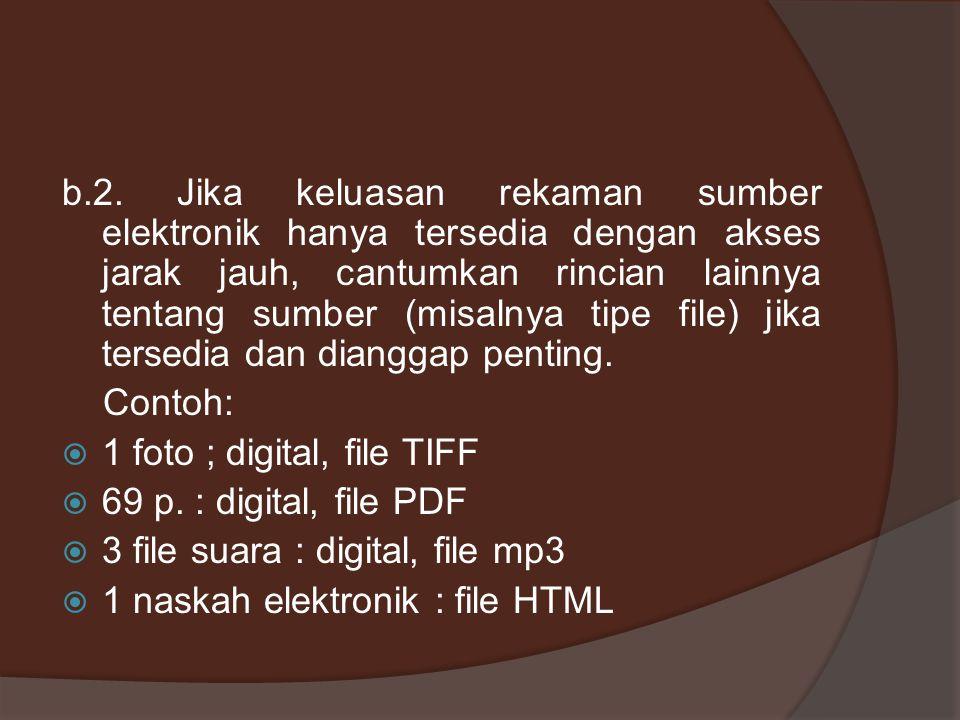b.2. Jika keluasan rekaman sumber elektronik hanya tersedia dengan akses jarak jauh, cantumkan rincian lainnya tentang sumber (misalnya tipe file) jika tersedia dan dianggap penting.