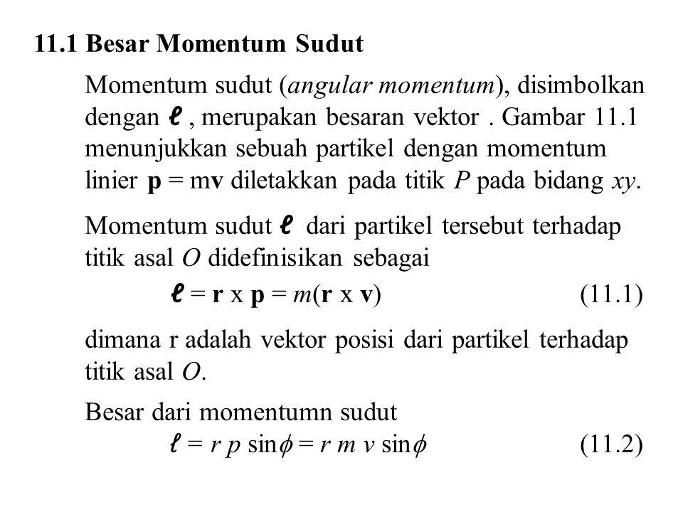 11.1 Besar Momentum Sudut Momentum sudut (angular momentum), disimbolkan. dengan ℓ , merupakan besaran vektor . Gambar 11.1.