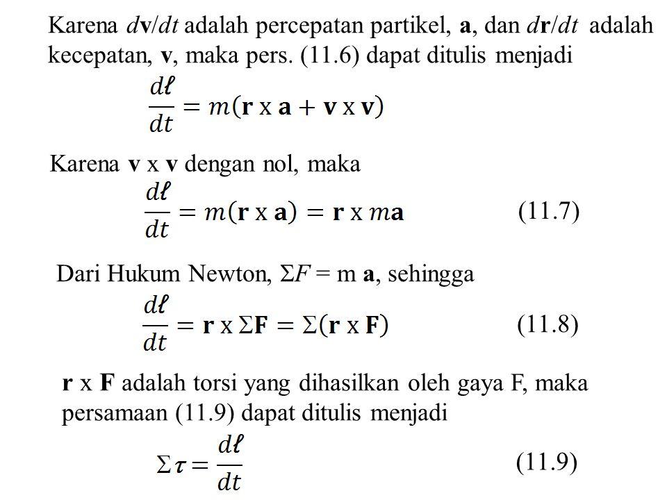 Karena dv/dt adalah percepatan partikel, a, dan dr/dt adalah kecepatan, v, maka pers. (11.6) dapat ditulis menjadi