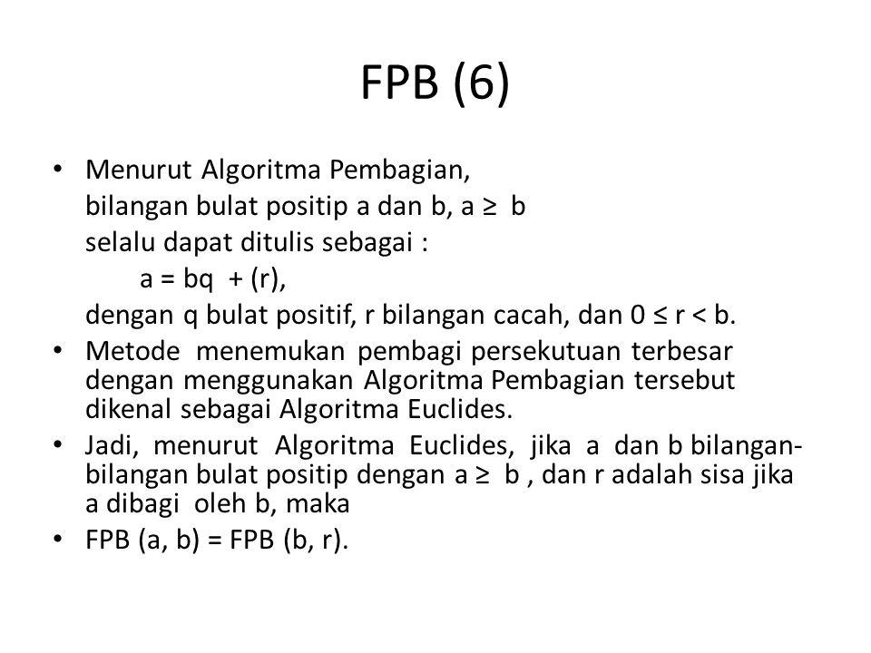 FPB (6) Menurut Algoritma Pembagian,
