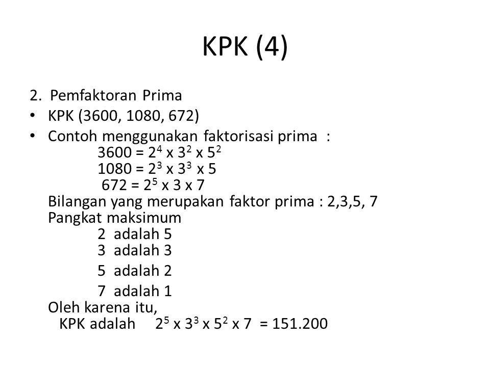 KPK (4) 2. Pemfaktoran Prima KPK (3600, 1080, 672)