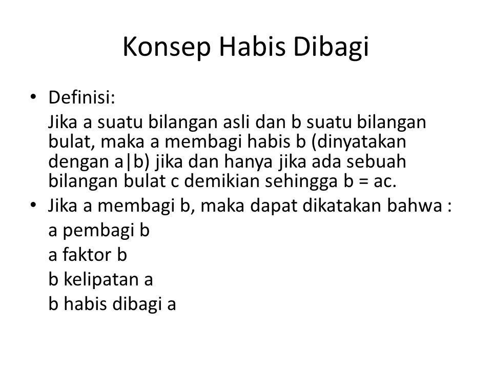Konsep Habis Dibagi Definisi: