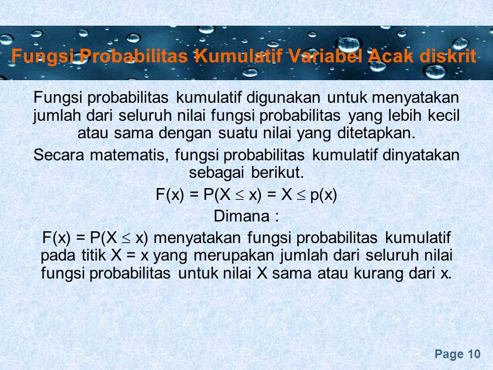 Fungsi Probabilitas Kumulatif Variabel Acak diskrit
