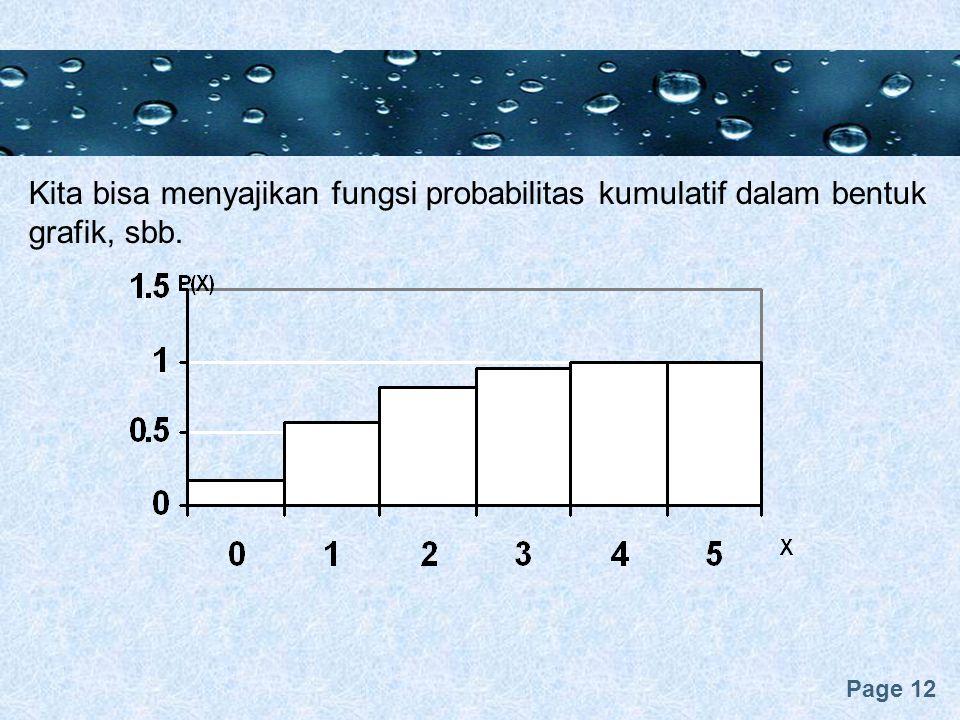 Kita bisa menyajikan fungsi probabilitas kumulatif dalam bentuk grafik, sbb.