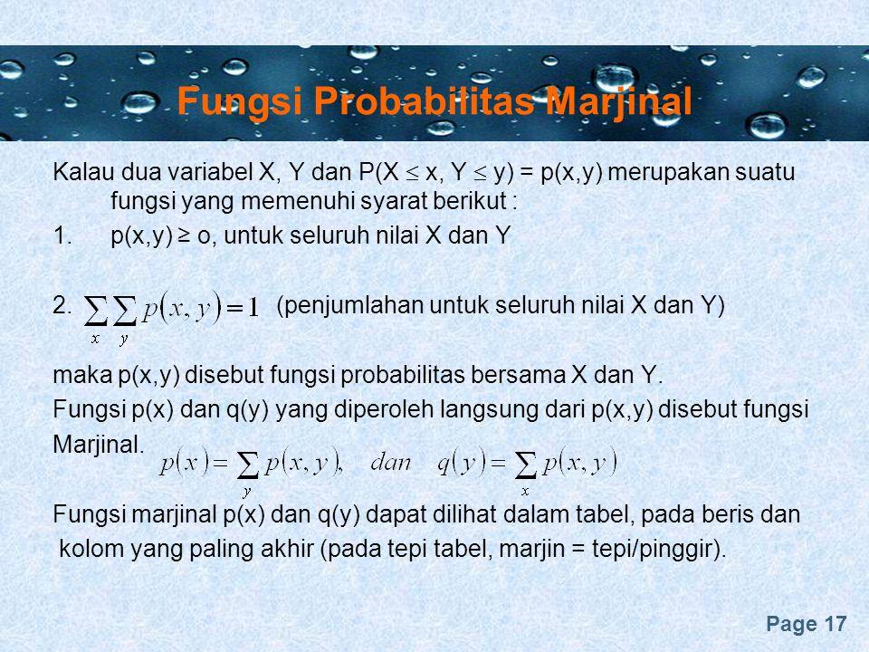 Fungsi Probabilitas Marjinal