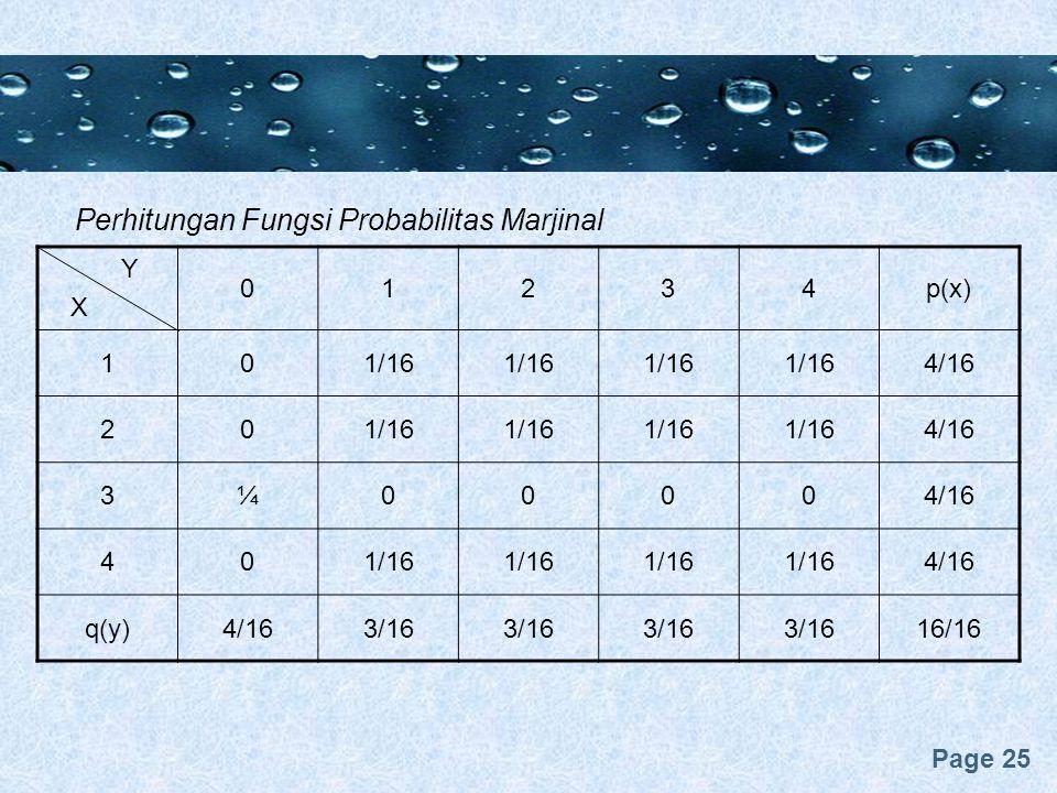 Perhitungan Fungsi Probabilitas Marjinal