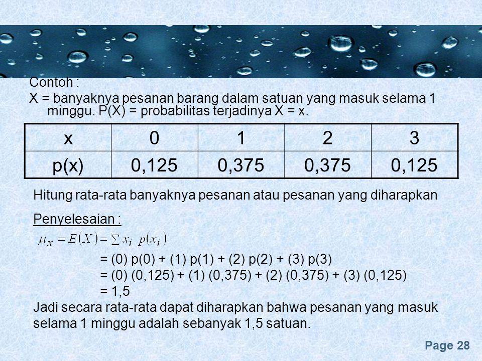 Contoh : X = banyaknya pesanan barang dalam satuan yang masuk selama 1 minggu. P(X) = probabilitas terjadinya X = x.