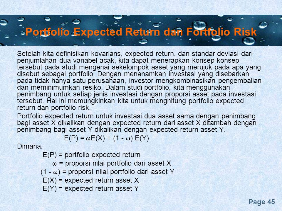 Portfolio Expected Return dan Fortfolio Risk