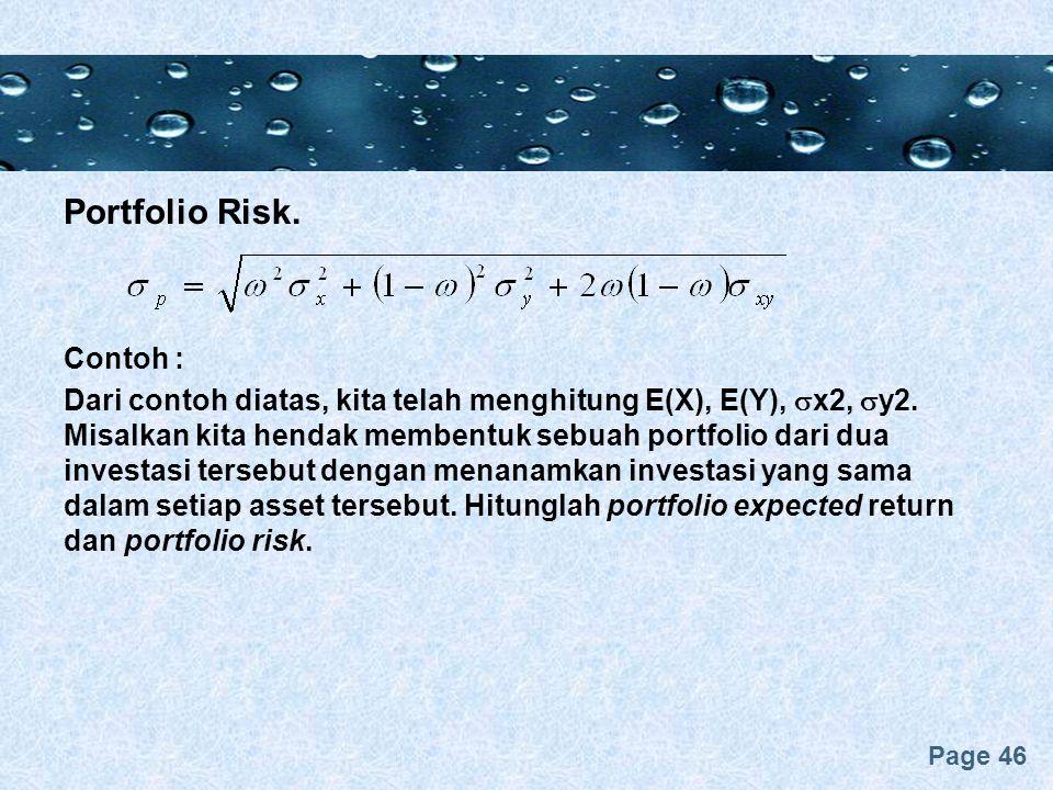 Portfolio Risk. Contoh :