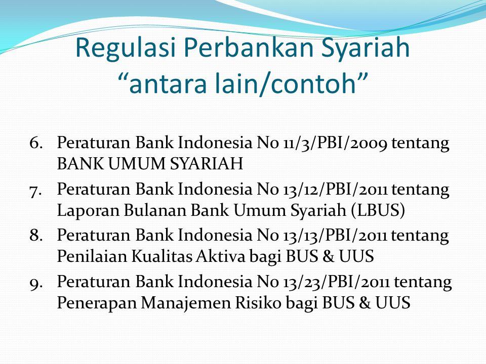 Regulasi Perbankan Syariah antara lain/contoh
