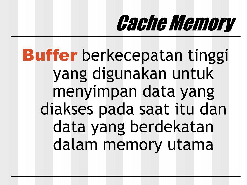 Cache Memory Buffer berkecepatan tinggi yang digunakan untuk menyimpan data yang diakses pada saat itu dan data yang berdekatan dalam memory utama.