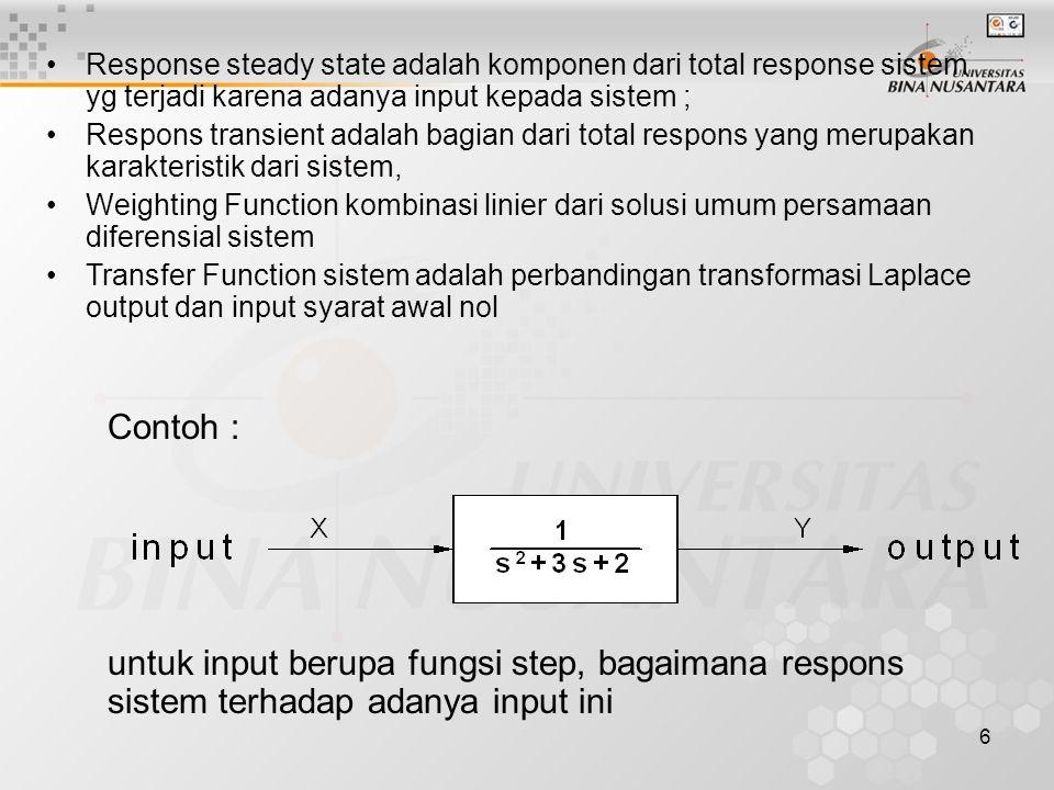 Response steady state adalah komponen dari total response sistem yg terjadi karena adanya input kepada sistem ;