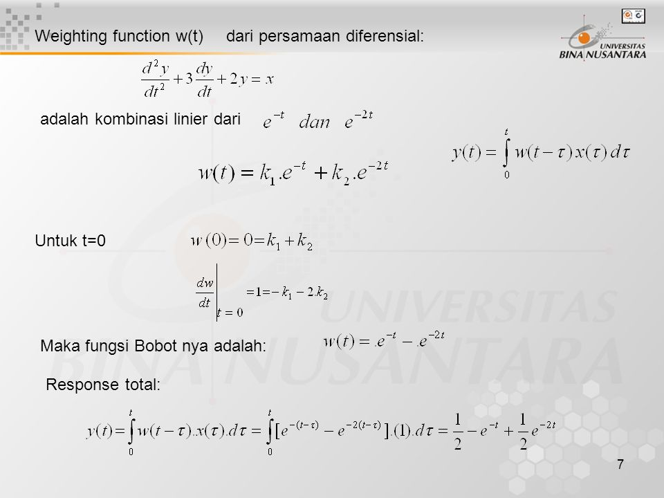 Weighting function w(t) dari persamaan diferensial:
