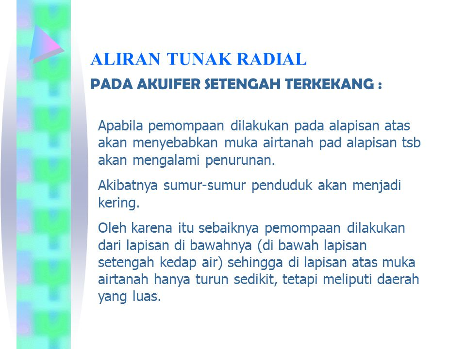 ALIRAN TUNAK RADIAL PADA AKUIFER SETENGAH TERKEKANG :