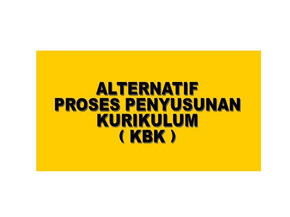 ALTERNATIF PROSES PENYUSUNAN KURIKULUM ( KBK )