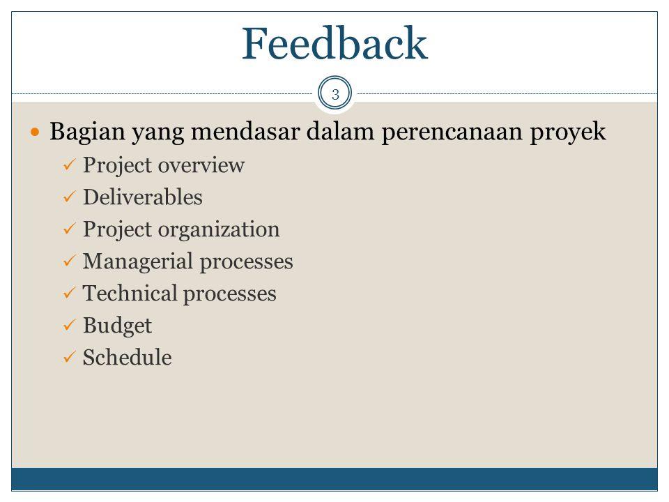 Feedback Bagian yang mendasar dalam perencanaan proyek
