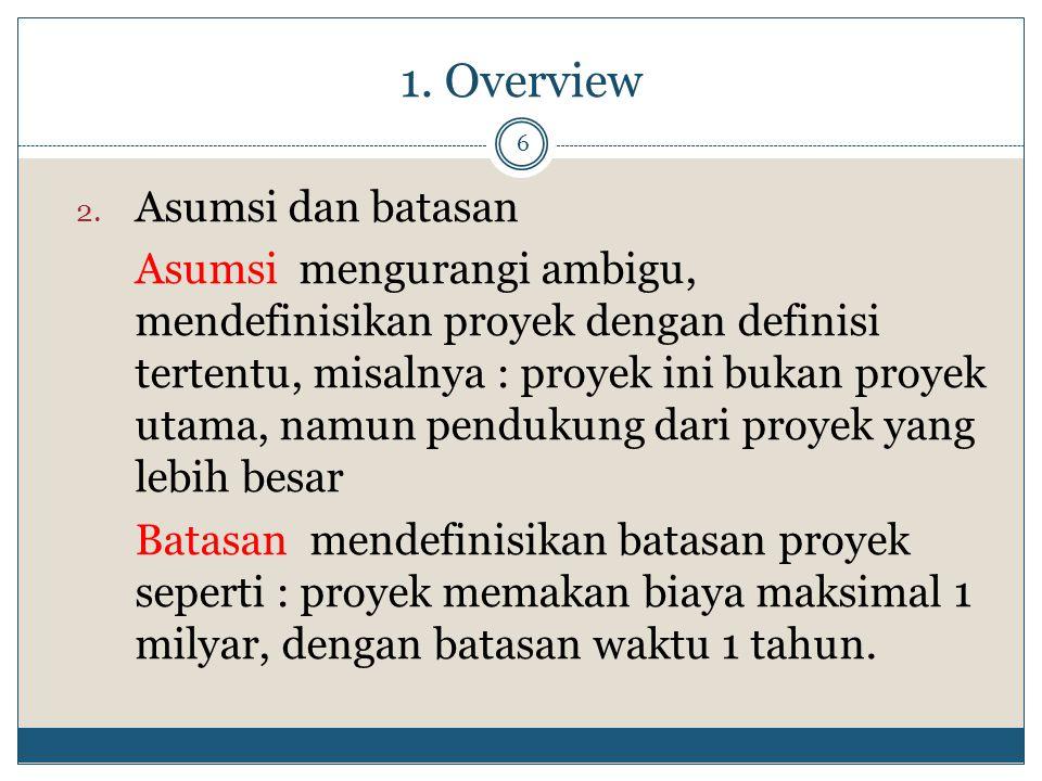 1. Overview Asumsi dan batasan