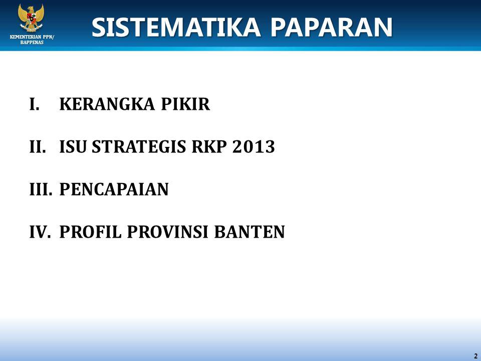 SISTEMATIKA PAPARAN KERANGKA PIKIR ISU STRATEGIS RKP 2013 PENCAPAIAN